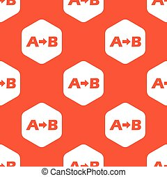 Orange A to B pattern - Letters A, B and arrow in white...