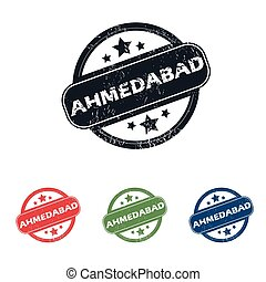 Round Ahmedabad city stamp set - Set of four stamps with...