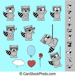 sweet raccoon cartoon expressions - sweet raccoon cartoon...