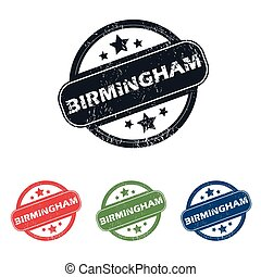 Round Birmingham city stamp set - Set of four stamps with...