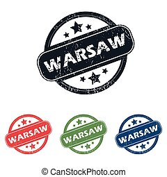 Round Warsaw city stamp set - Set of four stamps with name...