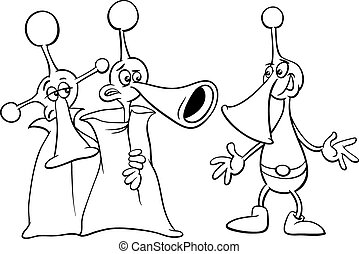 alien characters coloring book - Black and White Cartoon...