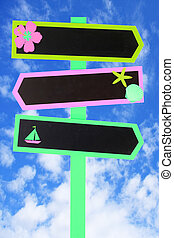 Beach signage - Colorful beach themed direction chalk board...