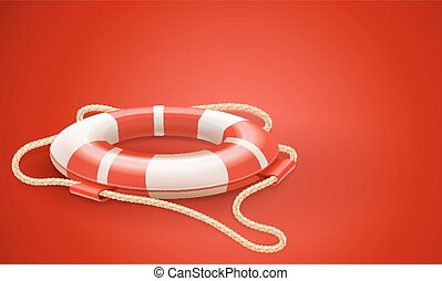 Life buoy for drowning rescue and help support on red...