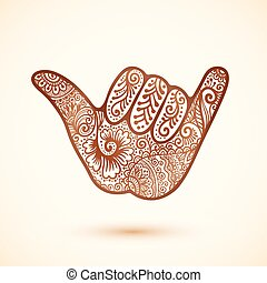 Shaka surfers hand in Indian henna tattoo style - Vector...