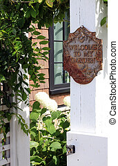 "Welcome to my garden sign - Rustic vintage ""Welcome to my..."
