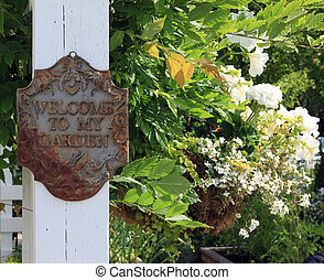 "Welcome to my garden - Rustic vintage ""Welcome to my garden""..."