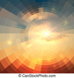 Abstract vector sunrise circle technology background -...