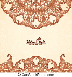Vintage background in Indian henna tattoo style - Vector...
