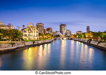 Hiroshima Skyline - Hiroshima, Japan city skylilne on the...