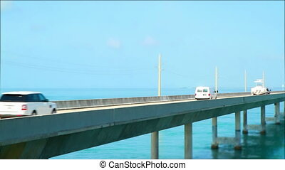 Tilt shift time lapse traffic Fl - Florida Keys seven mile...