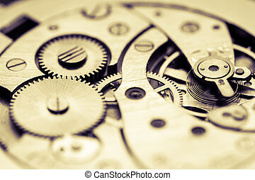 Mechanism of pocket watch with grunge texture