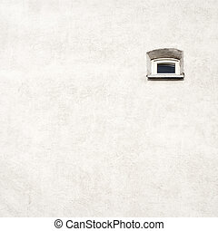 old cracked wall with a small window - Grunge white old...