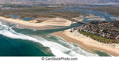 River Mouth and Estuary from the Air - Aerial view of...