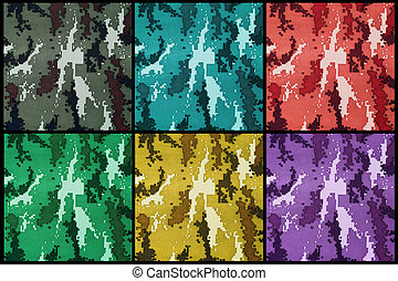 exotic color digital camouflage as background or pattern -...