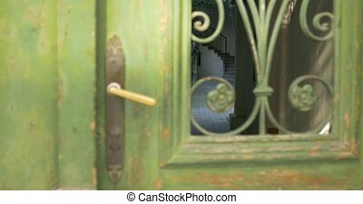 Vintage Door on Interior Courtyard - Changing focus along a...