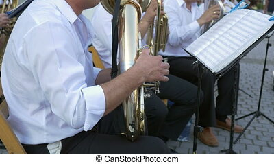 Brass Band Member Performing
