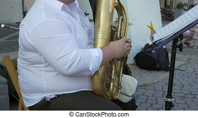 Euphonium Musician Plays Outdoor - Musician is performing...