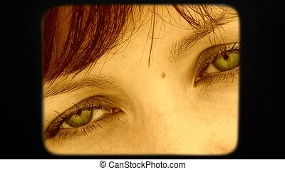 Beautiful Green Eyes Of Dark Haired Woman Looking Into Camera