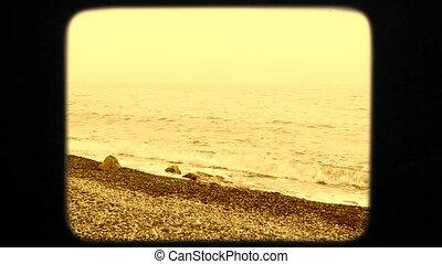 Beautiful Young Woman In White Dress Walking Along Seashore...