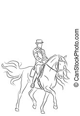 Dressage Horse and Rider - Artistic vector illustration of a...