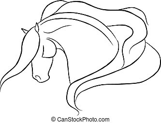 Flying Mane Horse - Dramatic horse head design.