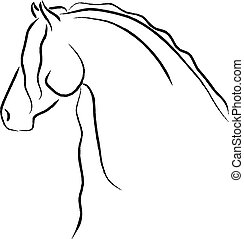 Friesian Horse - Artistic Friesian horse head design.