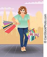 Plus size shopping woman, vector illustration