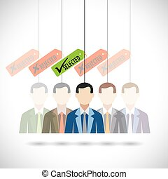 flat vector design of selection of candidate for job in company.