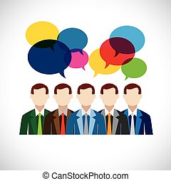 flat vector design of employees or executives in meeting....