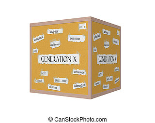 Generation X 3D Corkboard Word Concept with great terms such...
