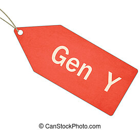 Gen Y red tag label with string making a great concept.