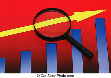Studying business opportunities - magnifying glasses over...