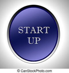 start up icon - Start Up Words on Glossy Blue Icon...