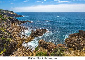 Eden Australia - Cliffs of Eden in the sapphire coast,...