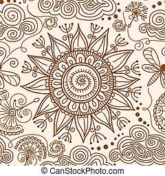 vector seamless Henna mehndi doodle pattern