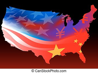 American map with chinese and USA flag
