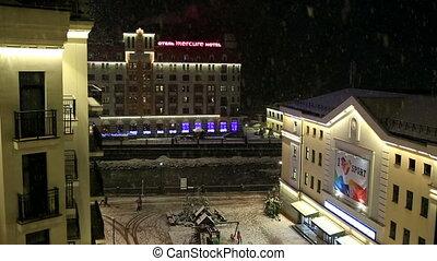 Night snowfall at Rosa Valley in Rosa Khutor Alpine Resort -...