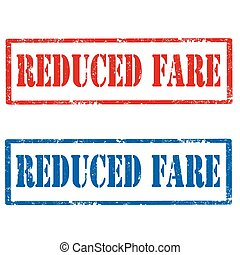 Reduced Fare - Set of grunge rubber stamps with text Reduced...
