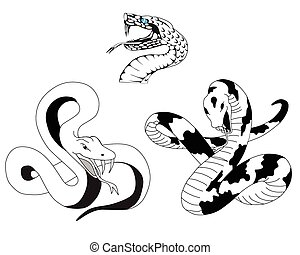 snake tattoo - Three tattoos in the form of a snake