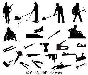 Builders - Silhouettes of workers and their tools, different...