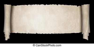 Antique scroll on black background.