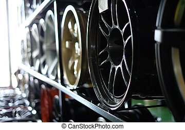 Close up of rims from a  car