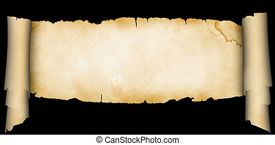 Antique scroll on black background. - Antique scroll of...