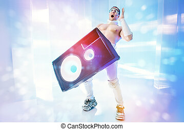 music speakers - Futuristic muscular man dancing with huge...