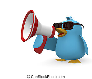 Speak loud - Cool blue bird with a megaphone on a white...