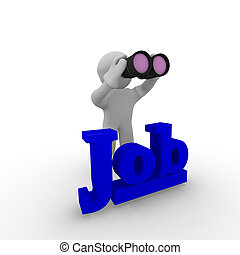 Job search - 3d man with binoculars searching new job
