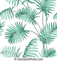 Topical palm leaves. - Topical palm leaves on seamless...