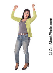 Beautiful middle aged Asian woman very excited and happy...