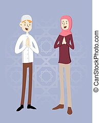 Moslem Couple - Moslem man and women in vector illustration